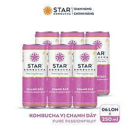 Lốc 6 lon thức uống lên men STAR KOMBUCHA Chanh Dây / Pure Passionfruit (250ml/lon)