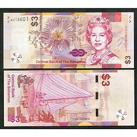 Tiền Bahamas 3 dollars Nữ hoàng Elizabeth II