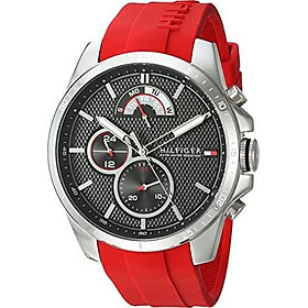 Tommy Hilfiger Men's Cool Sport Stainless Steel Quartz Watch with Silicone Strap, Red, 22 (Model: 1791351)