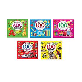 Sách - Combo 5 cuốn Bé thông minh first 100 words 100 từ vựng đầu tiên + phương tiện,số đếm, động vật,màu kèm tặng sticker