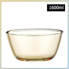 Bát, Thố Thủy Tinh Đựng Salat, Hoa Quả;  Mầu Hổ Phách Sang Trọng, Thể Tích Lớn