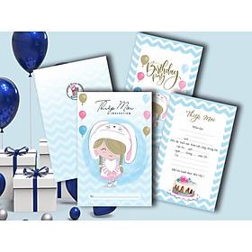Combo 50 thiệp mời sinh nhật bé gái đội nón DQ-2051-D
