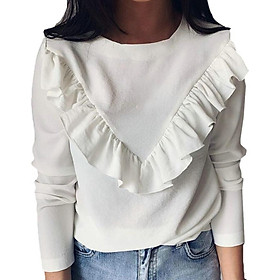 Autumn Korean womens tops and blouses female Solid long sleeve Ruffle bouse Fashion New Personality Fashion women's blouse