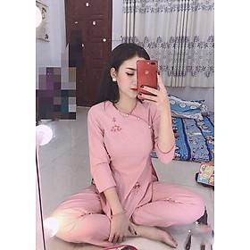 Áo Lam Đi Chùa - Xèo Chéo Hoa Sen  Màu Hồng