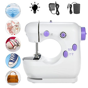 Mini Sewing Machine Multifunction Electric Micro-Sewing Machin eAdjustable 2-Speed Double Thread with Lights and Cutter