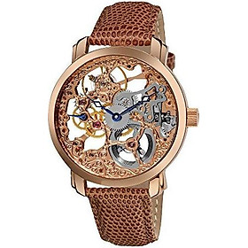 """Akribos Automatic Skeleton Mechanical Men's Watch -""""Bravura Davinci"""" Embossed Lizard Leather Pattern Strap - See Through Case with A Skeletonized Dial - Great for Father's Day - AK406"""