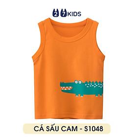 Áo ba lỗ bé trai 27Kids áo thun sát nách cho bé CÁ SẤU CAM - S1048