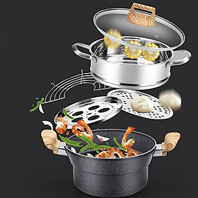 Multifunction Steam Frying Pot Non-stick Soup Pot for Gas Stove and Induction Cooker