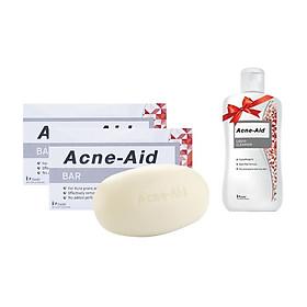 Combo 2 Xà Phòng Giảm Mụn Trứng Cá Acne-Aid Bar 100g Tặng 1 Chai Sữa Rửa Mặt Acne 30ml