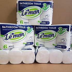 Combo (5 lốc) giấy vệ sinh Leman xanh dương 3 lớp KHÔNG LÕI cao cấp, 6 cuộn/ lốc