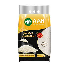 Gạo Nhật Japonica Túi 5Kg ( A An)  - Hạt tròn, cơm ngọt, rất dẻo, hạt cơm kết dính