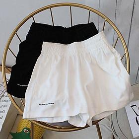 Quần Short nữ chất đũi thêu chữ, quần short u.nisex