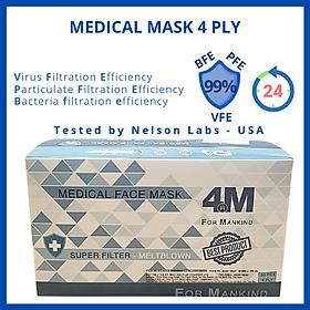 Khẩu trang y tế kháng khuẩn 4 lớp 4M Ultra Filter màu trắng - Thương hiệu 4M - Chuẩn quốc tế, lọc bụi, lọc khuẩn BFE - VFE - PFE >99%, kiểm định bởi Nelson Labs (Mỹ)