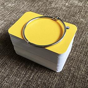 100 thẻ flashcard trắng 4x7siêu dày bo góc tặng kèm khoen +bìa cứng vân 3D