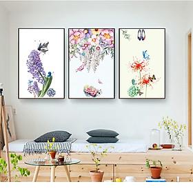 Bộ tranh canvas bông hoa màu nước cc193 , khung viền sang trọng  công nghệ in uv hiện đại, thân thiện với môi trường, phù hợp với mọi không gian treo tranh