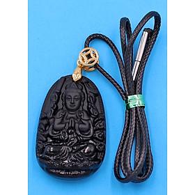 Hình đại diện sản phẩm Dây vòng cổ phật Thiên Thủ Thiên Nhãn - thạch anh đen 3.6cm DETEB8 - dây đen - tuổi Tý
