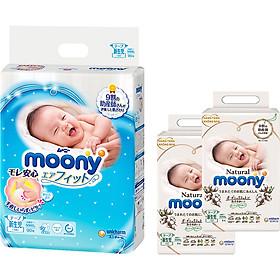 Tã Dán Cao Cấp Moony Nhật Bản Newborn 90 - [Tặng 8 Miếng Moony Natural Cùng Size]