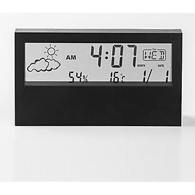 Đồng hồ điện tử để bàn có đèn ( Tặng 01 đèn pin mini không dùng pin ) - XEM GIỜ, LỊCH, NHIỆT ĐỘ, ĐỘ ẨM