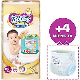 Tã Quần Cao Cấp Bobby Extra Soft Dry XXL46 (46 Miếng) - Tặng 4 Miếng Trong Gói