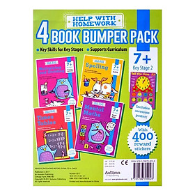 Help With HomeWork - 4 Book Bumper Pack  : Maths , Multiplying and Dividing , Spelling and Times Tables (Ages 7+) (Includes Awesome Poster)