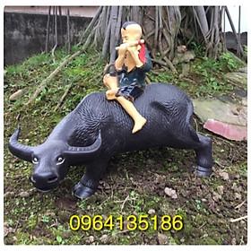 Tượng chú bé chăn trâu thổi sáo dài 32cm gốm sứ Bát Tràng