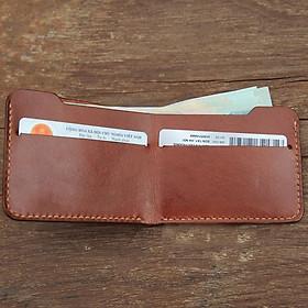 Ví nam mini kèm ngăn đựng thẻ thủ công-Da bò nhập khẩu - Đồ da Handmade -  DT704