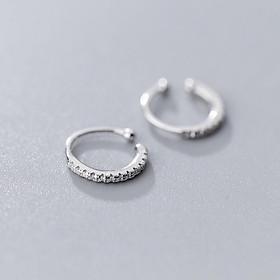 Bông tai bạc nữ Khuyên tai bạc nữ kẹp vành Earcuff vòng tròn đính đá