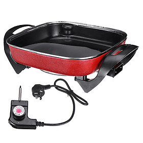 AUGIENB 1500W 5L Multifunctional Electric Frying Pan Roasting Oven Korean Teppanyaki Heat Stew Soup Grill Skillets Cooking Hotpot Food Steamer Non-stick For 3-4 people 220v