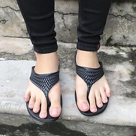 Dép kẹp thấp - Thái Lan - Đen - Nhựa mềm Siêu Bền, Êm Ái, Chống Trơn Trượt