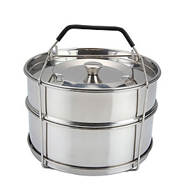 304 Stainless Steel Double Layer Steamer Portable Steam Grid Stackable Pressure Cooker