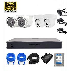 Bộ KIT 4 camera IP 3.0MP (NON-POE) Có ổ cứng 500G, mắt KIM LOẠI chống nước