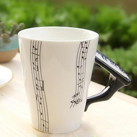 400ml Music Mug with Handle Coffee Cup Ceramic Cup Gift for Friend Guitar