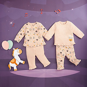 Bộ 2 áo bèo gấu 2 quần đáp đũng vải Interlock Lullaby BST Thu Đông 2019