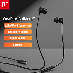 OnePlus Bullets 2T Earphones Type-C In-Ear Headset With Remote Mic 1.15M Wired Compatible for Oneplus 7 8 Pro 6 7 T