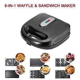 6-in-1 Waffle & Sandwich Maker Grill New Breakfast Maker Doughnut Cake Maker Compact Kitchen Dining EU Plug