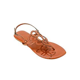 Giày Sandal Nữ Da Thật Đế Bằng Fancy Peacock Gosto GDW003800BRO - Nâu
