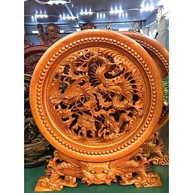 Tranh đĩa Tứ Linh đế rồng gỗ Hương hàng trạm tay cực đẹp sắc nét ( đĩa to 40cm)