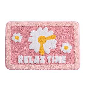 Thảm Lau Chân Cotton Len Dày Hình Bông Hoa Relax In Nổi
