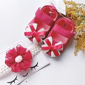 Bộ sản phẩm Giày tập đi + 1 Băng Đô cho bé gái sơ sinh từ 0 - 12 tháng - Quà tặng thôi nôi- Ma05- màu đỏ