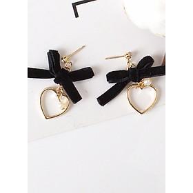 Khuyên tai nơ trái tim vàng bông tai trang sức phụ kiện nữ phong cách hàn quốc tặng ảnh thiết kế vcone
