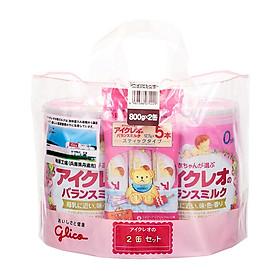 Combo 2 Lon Sữa Bột Glico Icreo Số 0 800g với 5 Stick x 12.7g (0 - 12 tháng)