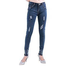 Quần Jeans Nữ Lưng Cao Tua Lai M03 - Xanh