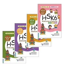 Sách Tiếng Trung Luyện Thi Hán Ngữ HSK - Combo 4 Quyển Đề Luyện Thi Năng Lực Hán Ngữ HSK 3, HSK4, HSK5, HSK6 - Tuyển tập Đề thi mẫu và lời giải ( Tặng Kèm Bookmark)