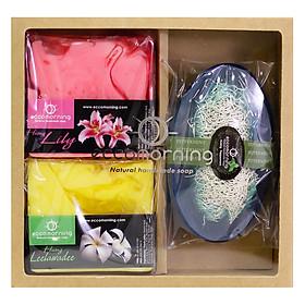 Hộp 3 Xà Bông Thiên Nhiên Handmade Eccomorning SBFC - Hình Vuông hương Hoa Lily + Hình Hoa Sứ + Hình Thuyền hương Bạc Hà (100g/Bánh)