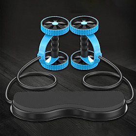 Rebound Abdominal Wheel Muscle Wheel Fitness Equipment Machine with Stretching Pull Rope Hassock Kneeling Pad for for-2