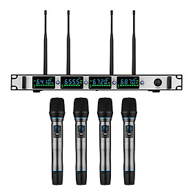 Professional Wireless Microphone System 4-Channel UHF Cordless Mic Set with 4 Handheld Mics & 1 Rack-Mount Receiver for