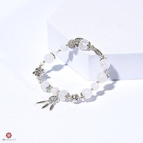 Vòng tay Thạch Anh Ưu Linh Trắng 100% tự nhiên phối charm bạc Thái 92.5% đem lại may mắn, bình an, hợp mệnh Kim, Thủy | VietGemstones