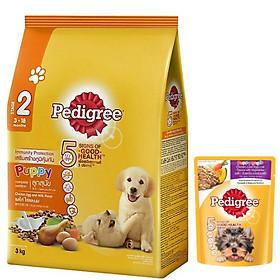Combo thức ăn cho chó con Pedigree 3kg vị gà,trứng và sữa + sốt chó con Pedigree 80g vị gà,gan,trứng và rau
