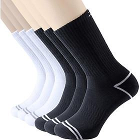 6 Pairs of Cotton Heavy Cushion Crew Socks Comfortable Breathable Socks for Men