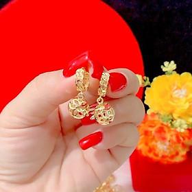 Bông tai nữ kim tiền trái châu màu vàng 18 cao cấp